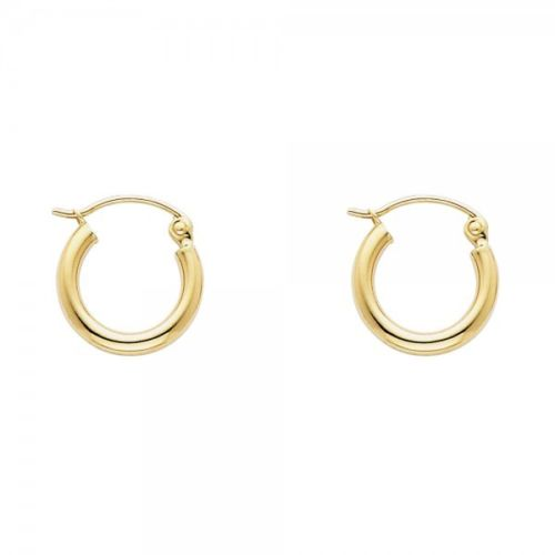 "14K Solid Yellow Gold 2mm Plain Hoop Earrings Extra Small 13mm 0.5"" Snap Closure"