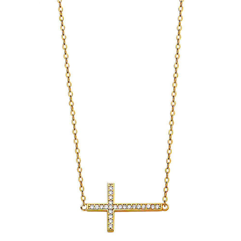 14K Solid Yellow Gold Diamond SideWays Cross Rolo Chain Necklace Set Charm