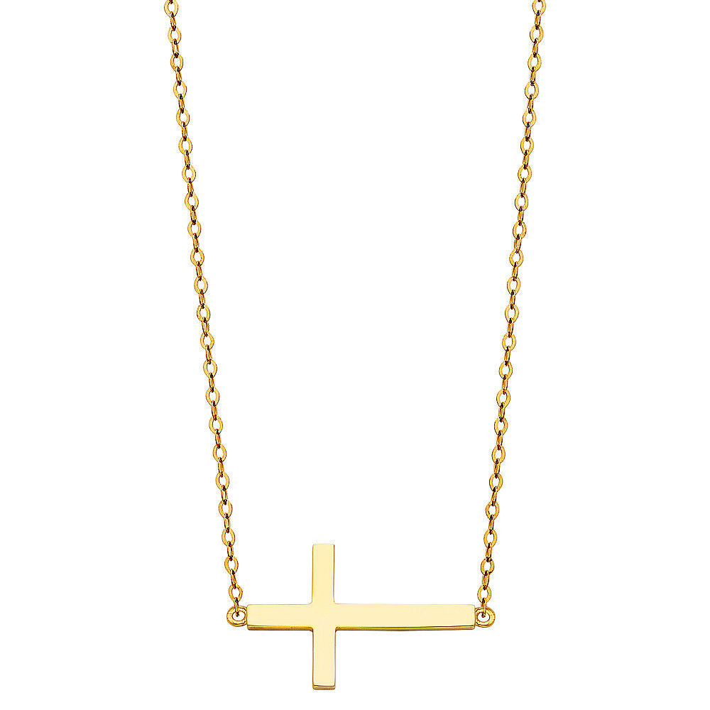 14K Solid Yellow Gold Sideways Cross Necklace Set Rolo Chain Charm Women