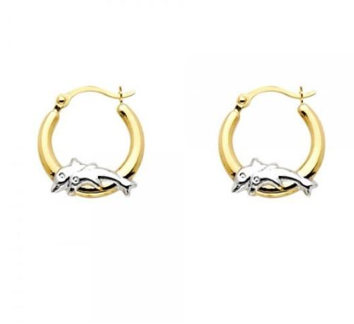 14K Solid Yellow White Gold Two Tone Round Dolphin Hoop Earrings