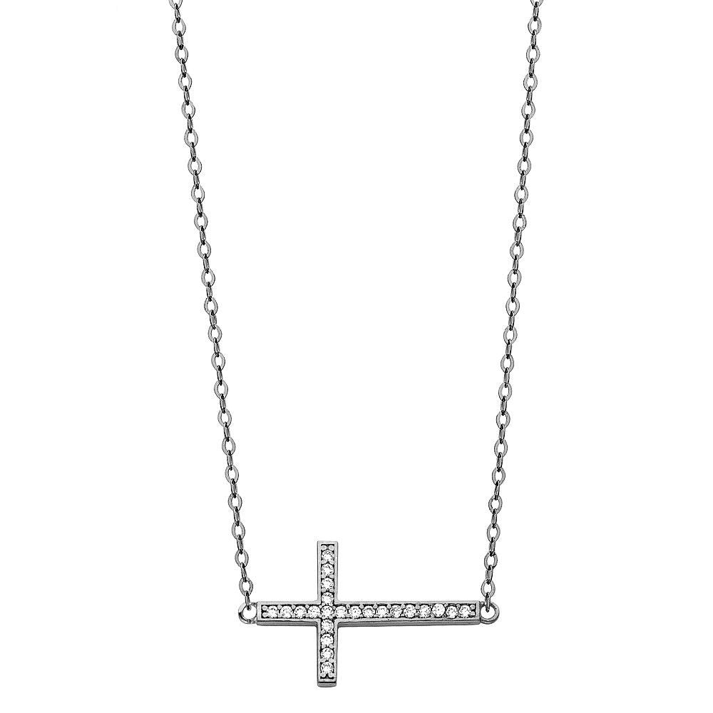 14K White Gold .50 CT Diamond SideWays Cross Rolo Chain Necklace Set Charm