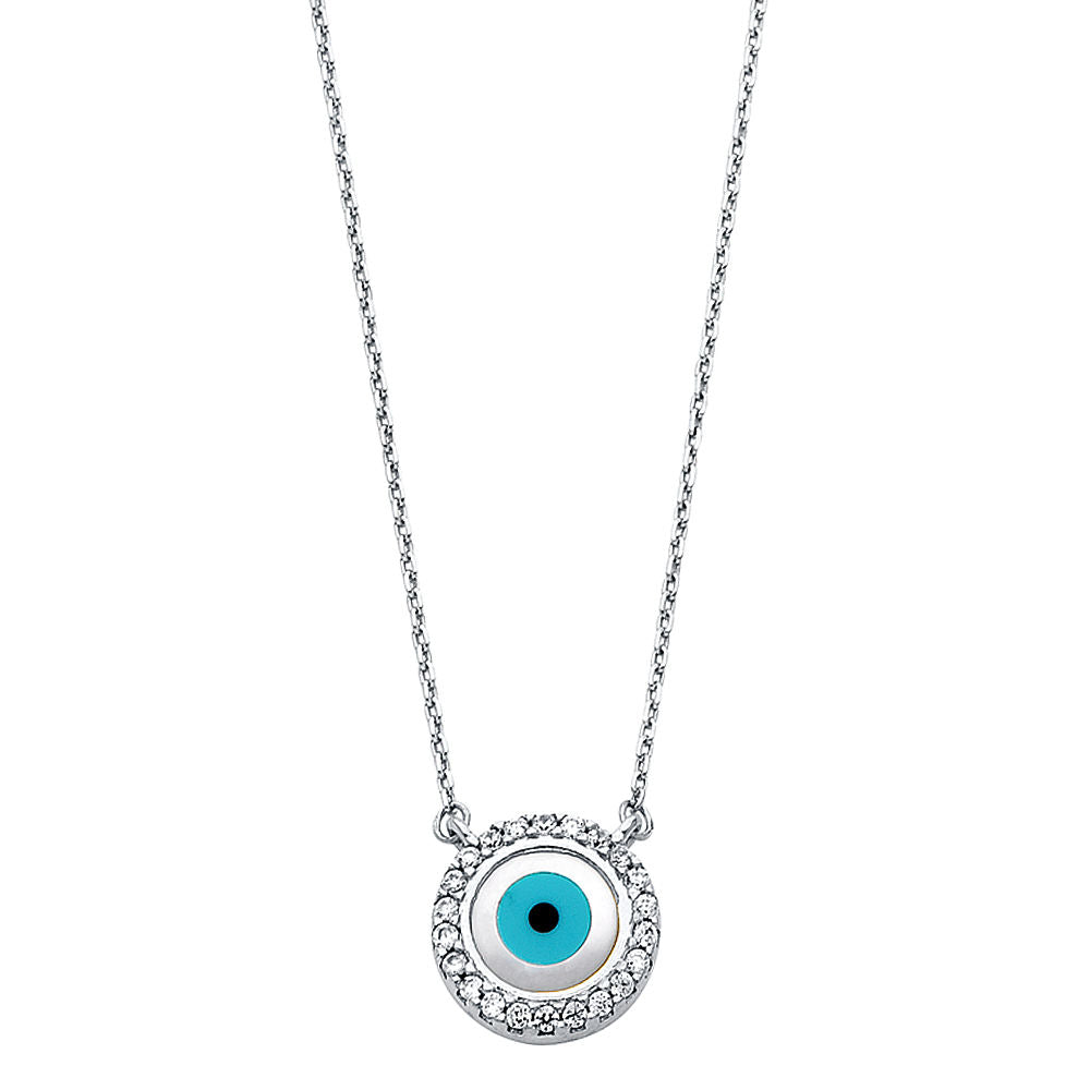 "14K White Gold Diamond Mal De Ojo Evil Eye Pendant Necklace 17 +1"" Good Luck"