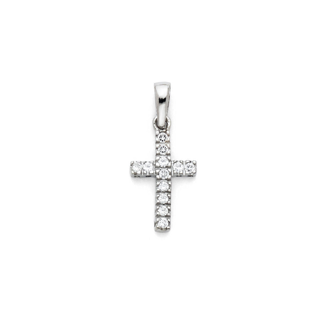 14K White Gold Small Cross Diamond Pendant Charm for Necklace Chain 14 mm 0.5 gr