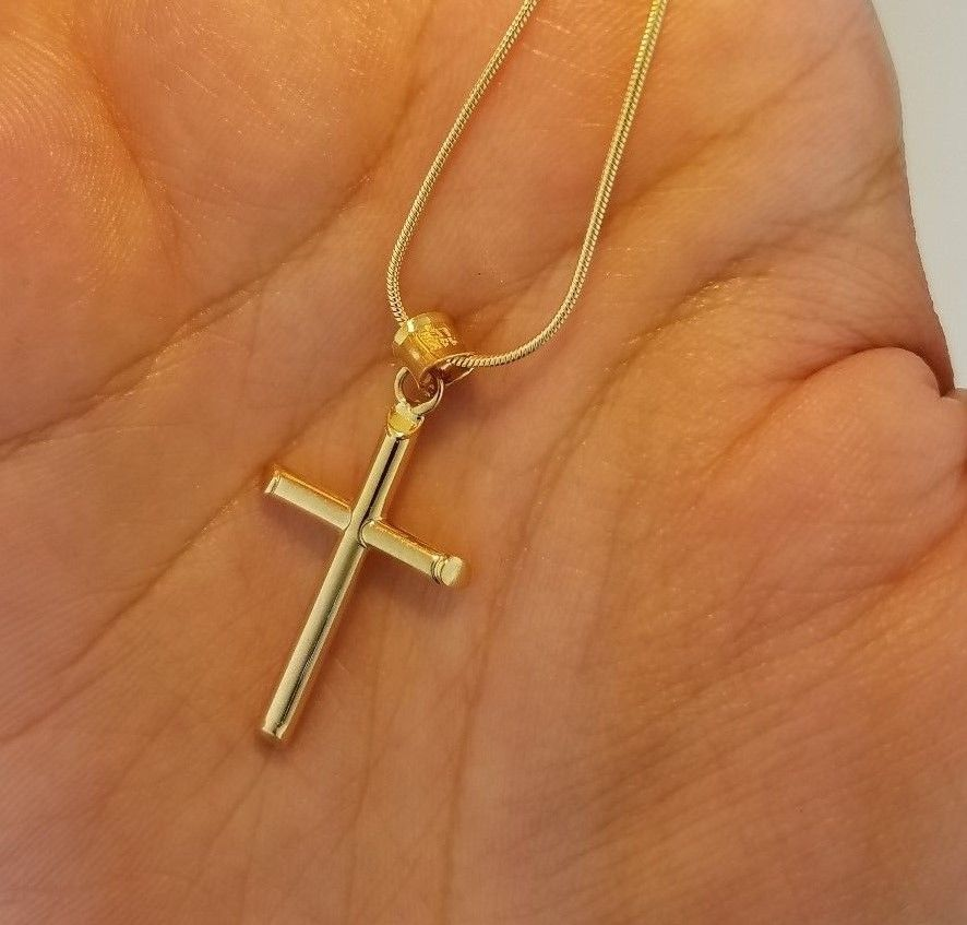14K Yellow Gold 3-D Hollow Cross Pendant Charm for Necklace Chain 22 mm 0.8 gr