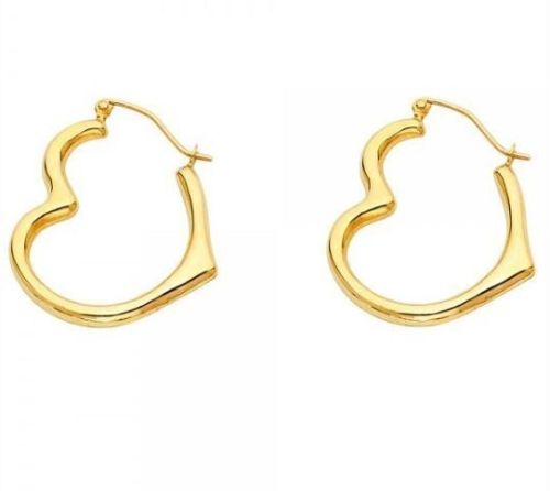 14K Yellow Gold Angled Hollow Sideway Heart Hinged Hoop Earrings