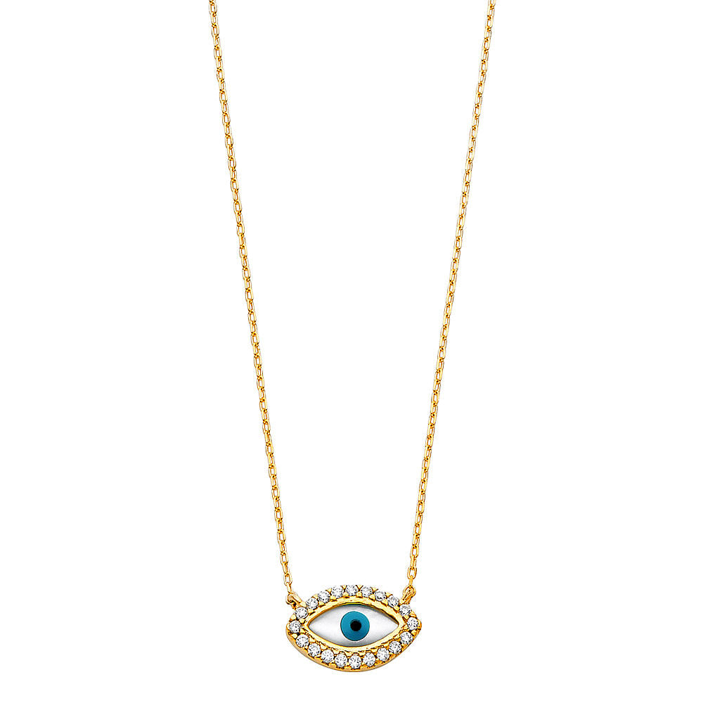 14K Yellow Gold Evil Eye Star Charm Pendant For Necklace or Chain