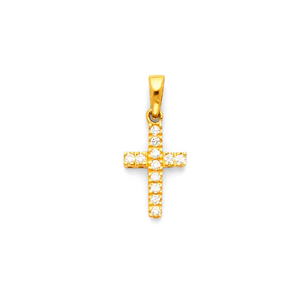 14K Yellow Gold Small Cross Diamond Pendant Charm for Necklace Chain 14mm 0.5 gr