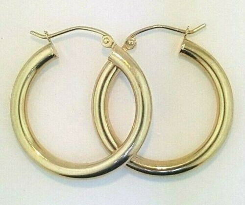 14k Yellow Gold 3MM Round Hollow Hoop Earrings Snap Closure 0.9 Inches