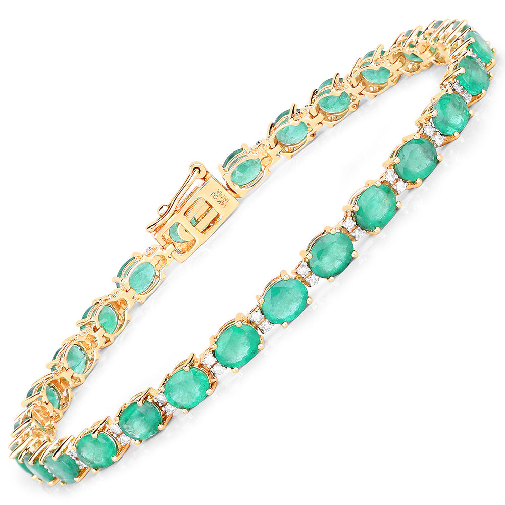 14K Yellow Gold Bracelet 8.38 ct Zambian Emerald White Topaz Diamond 7 inches