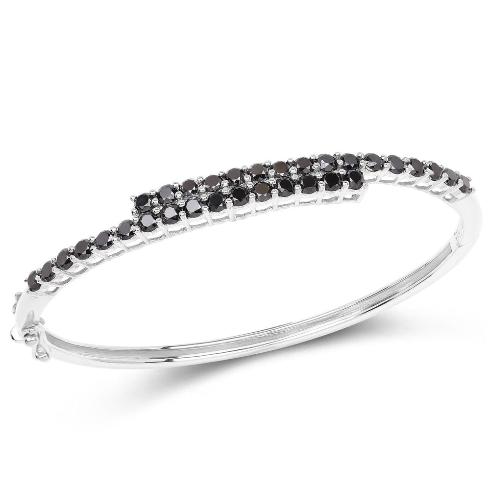 925 Sterling Silver Bracelet Black Diamond Round 4 carat Gemstone 7.50 inches