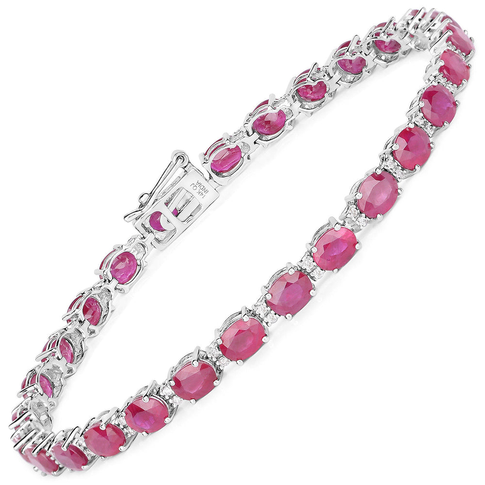14K White Gold Bracelet 12.97 ct Ruby White Diamond Oval Gemstone 7 inches