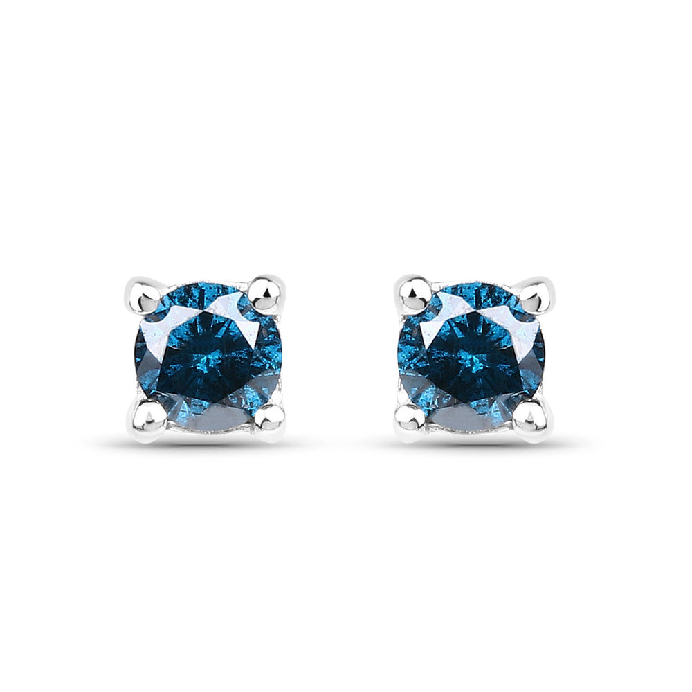0.28 ct Genuine Blue Diamond Gemstone Ear Stud 925 Sterling Silver Earrings