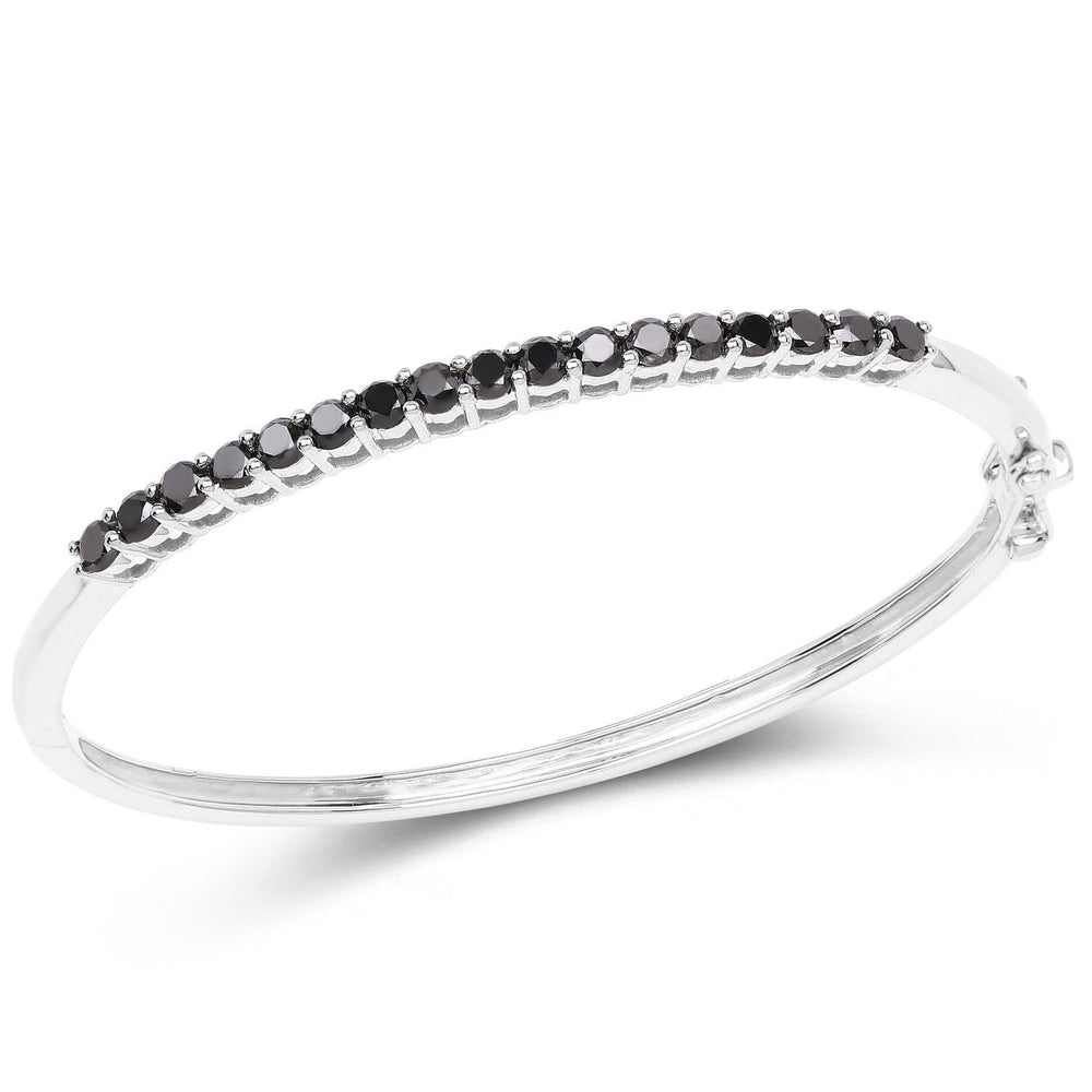 925 Sterling Silver Genuine Bangle Bracelet 11.70 ct Black Diamond 7.50 inches