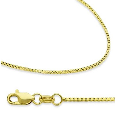 "14K Solid Yellow Gold Box Chain Necklace with Secure Lobster Clasps 22"" Long & 0.8mm width"