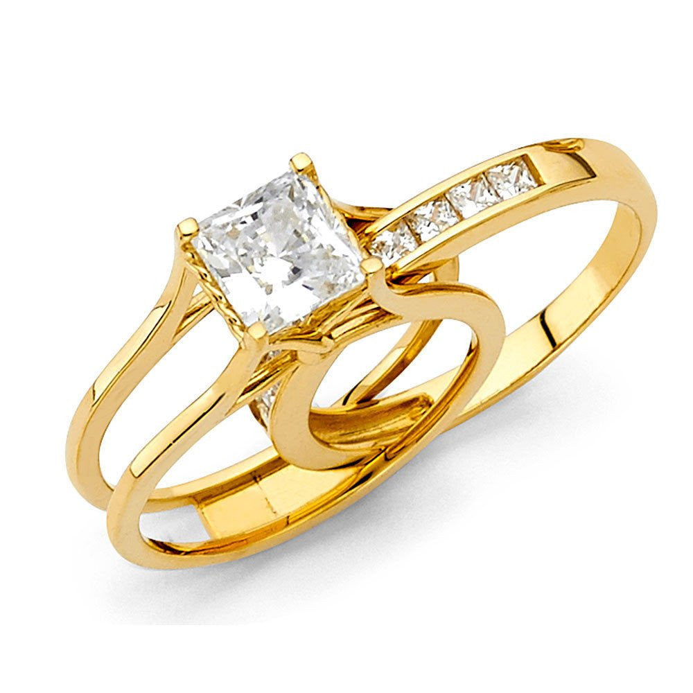 2 Ct Princess Cut 2 Piece Engagement Wedding Ring Band Set Solid 14K Yellow Gold
