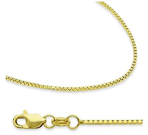 "14K Solid Yellow Gold Box Chain Necklace with Secure Lobster Clasps – 18"" 20"" 22"" long and 1.3mm Width"