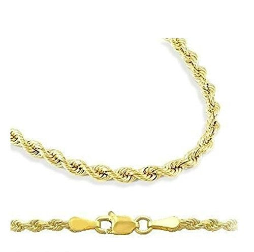 "New 14K Yellow Gold Rope Chain Necklace- 22"" Long & 2.5mm Width"