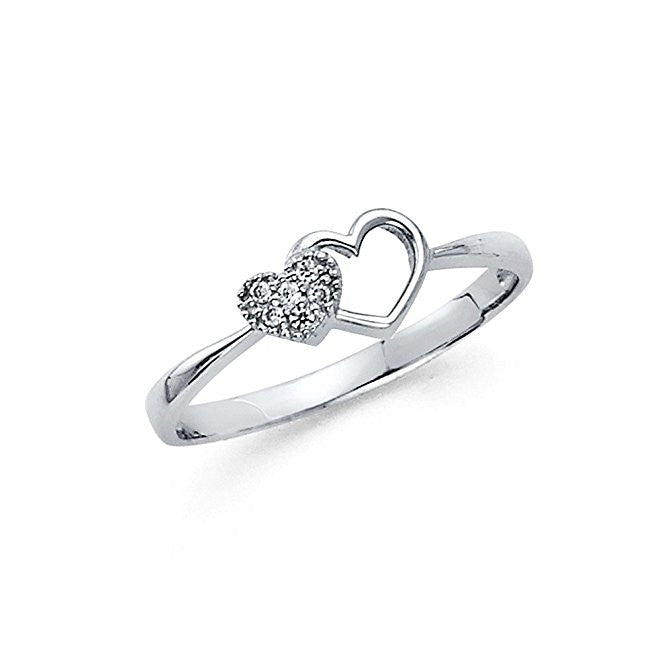 14K White Gold 0.25 ct. Engagement Ring Heart Shaped Stone 1.9mm