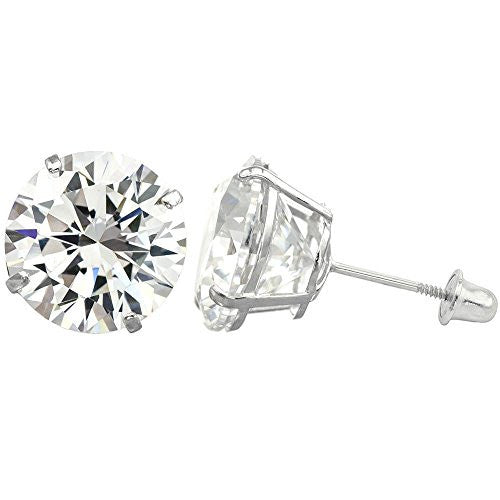 new-14k-solid-white-gold-cz-stud-earrings-basket-set-round-clear-cz-screw-back-2-5mm-3mm-4mm-5mm-6mm-7mm-8mm
