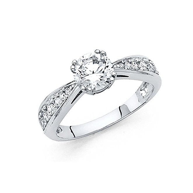14K White Gold 1 Carat brand Engagement Ring 4 mm