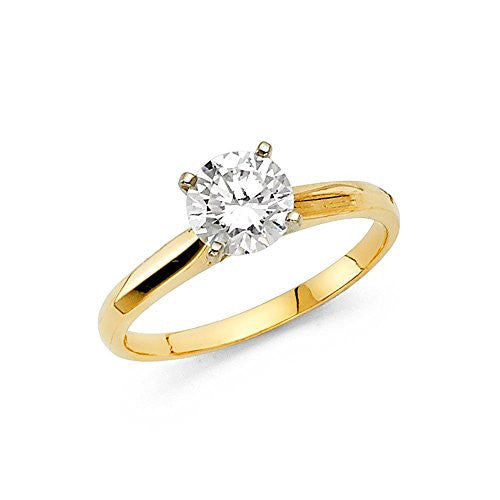 New 14K Yellow Gold 1.0ct. Brand Engagement Ring 2.5mm