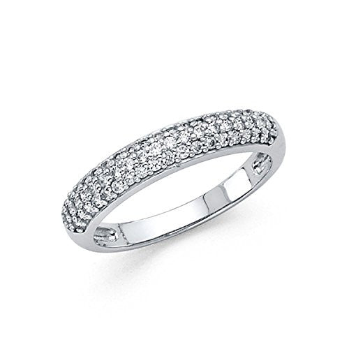Wedding Band Ring - 14k White Gold