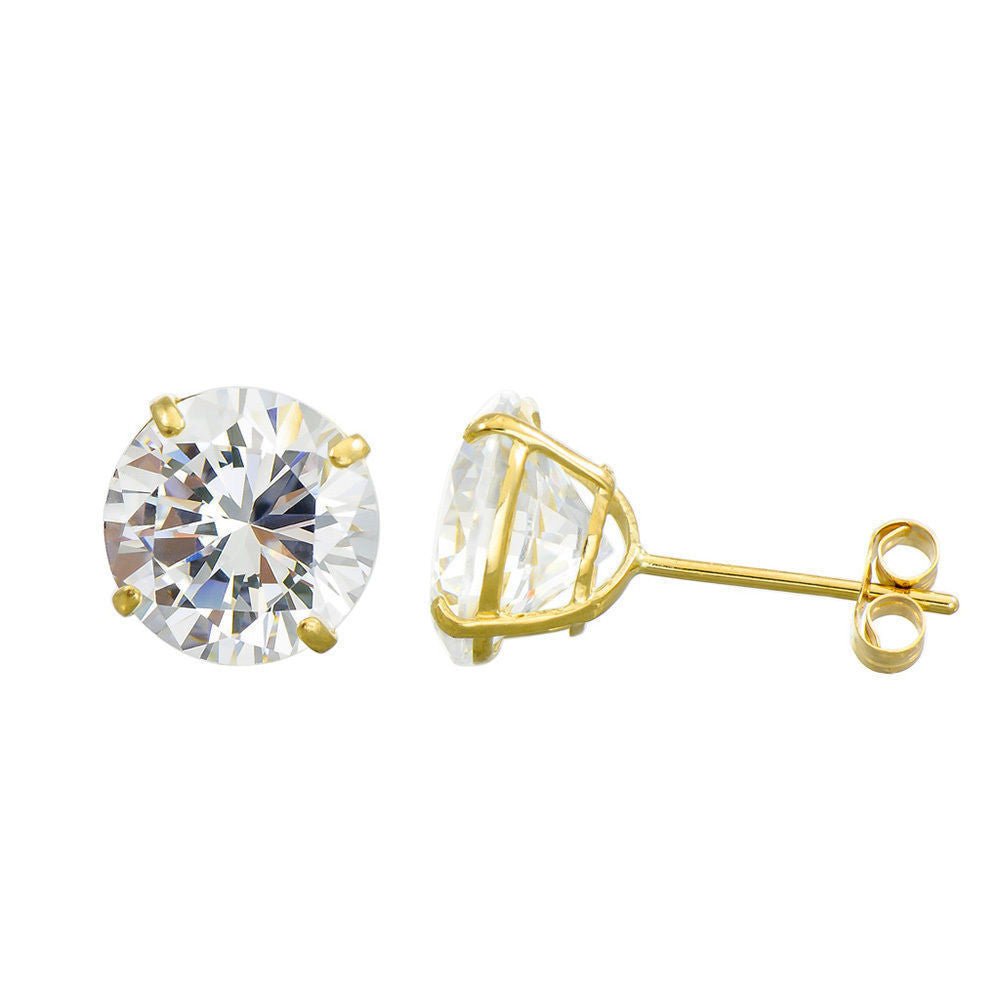 b657359bc 3MM-8MM Round Clear CZ 14K Solid Yellow Gold Stud Earrings Basket Set Push  Back