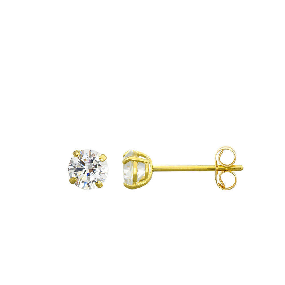 14K Solid Yellow Gold Stud Earrings Basket Set Round Clear CZ Push Back 3mm-8mm