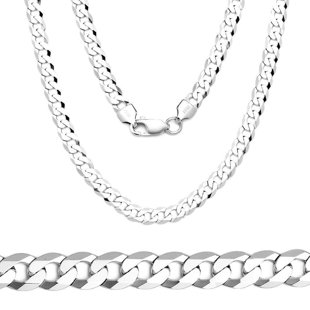 3MM Men Women Solid Sterling Silver Chain Necklace Cuban Link 18-24""