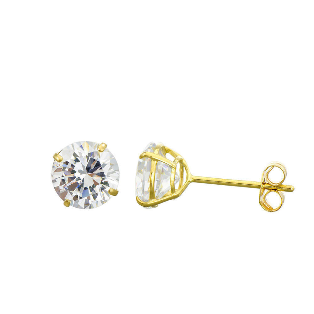 3MM-8MM Round Clear CZ 14K Solid Yellow Gold Stud Earrings Basket Set Push Back
