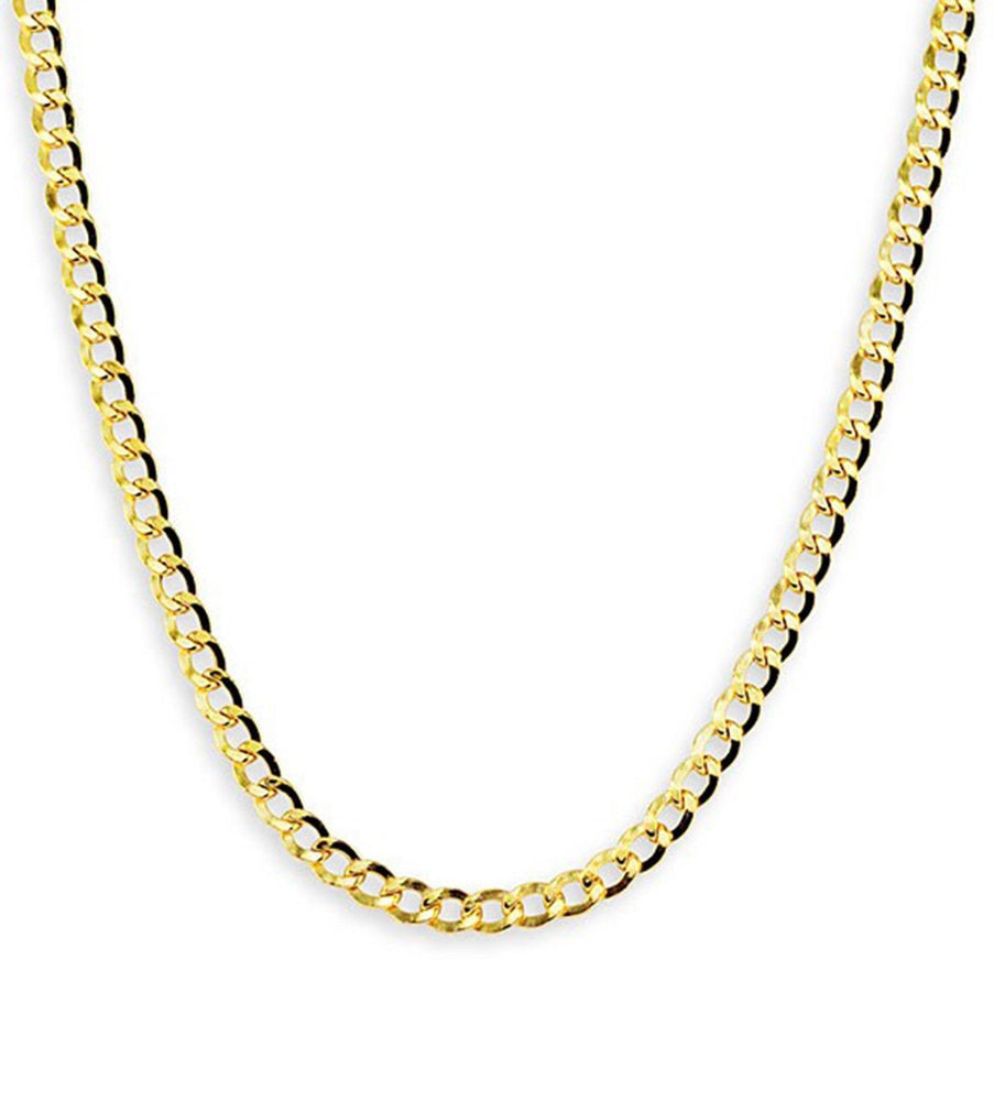 3.6MM 14K Yellow 100% Real Gold Cuban Curb Link Necklace Chain 24""