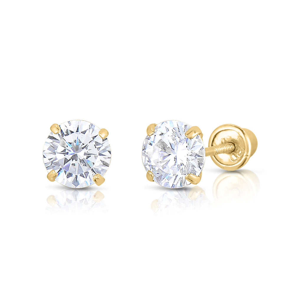 Solitaire Stud Earrings - Round