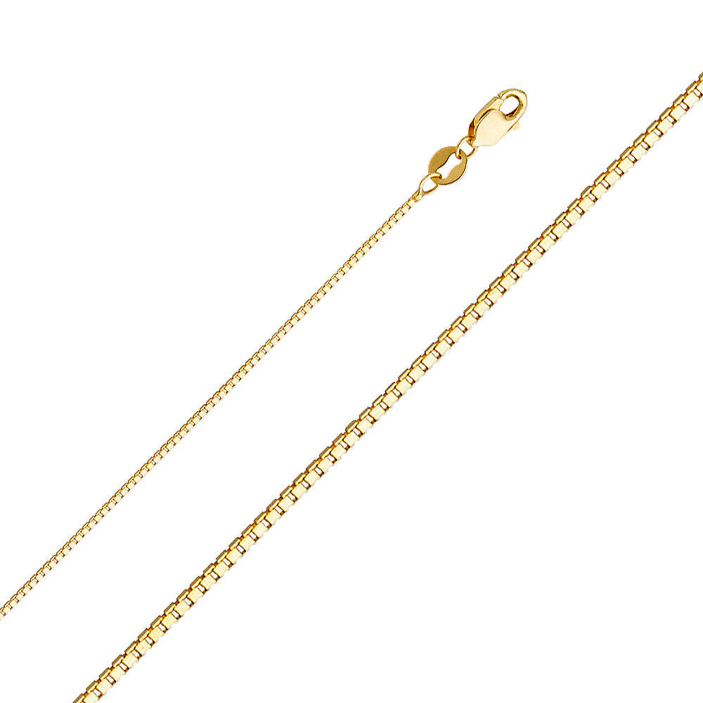 "Solid 0.6MM-1.2MM 14K Real Yellow Gold Chain Necklace Box Chain 16"" - 24"""