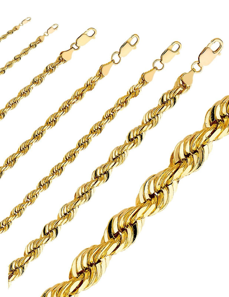 Yellow 10k Rope Chain Diamond Cut Gold Necklace Men Women