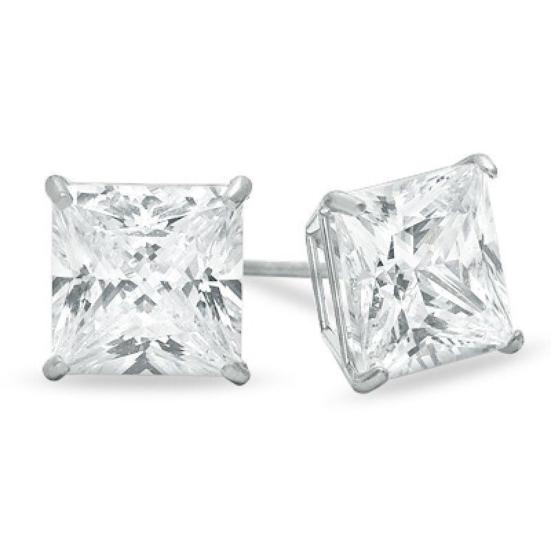 14K Solid White Gold Princess Cut CZ Stud Earrings Basket Push Back size 3-10mm