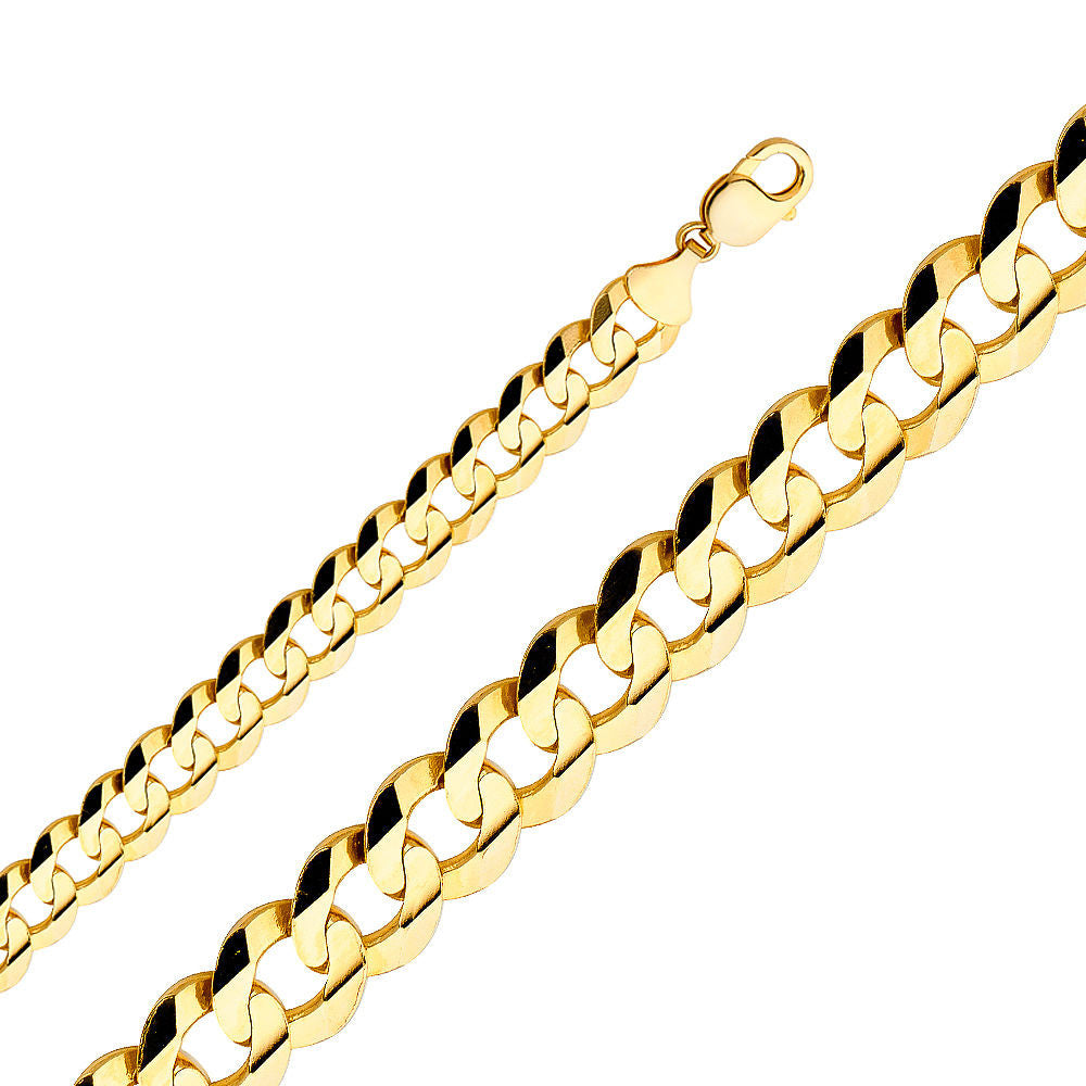 "2.2MM- 14MM 14K SOLID YELLOW GOLD CUBAN LINK WOMEN/ MEN'S NECKLACE CHAIN 8""-30"""