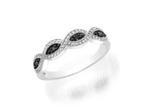 Ladies White Gold Finish Black Infinity Knot Heart Promise Fashion Ring