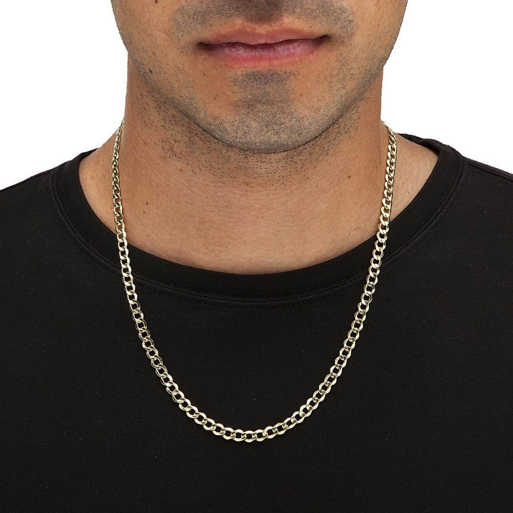 5 1mm Chain 10k Yellow Gold Cuban Link Women Men Necklace