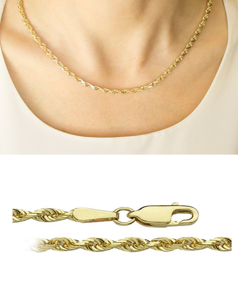 Yellow 10K Rope Chain Diamond Cut Gold Necklace Men Women 2.5 MM ...