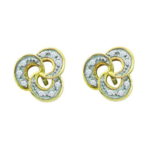 10KT Solid Yellow Gold 0.06CTW Diamond Micro-Pave Stud Earring