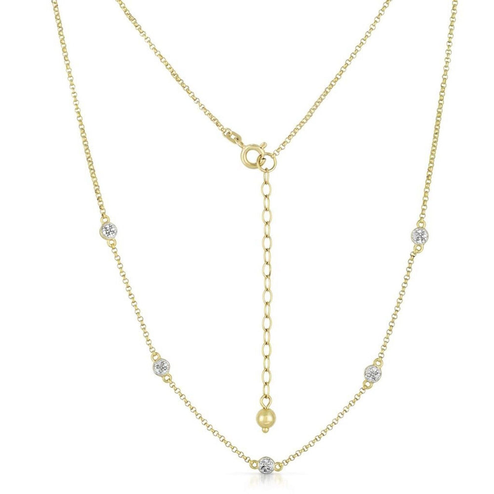 "Women 14K Yello Gold Finish Sterling Silver 24-26"" Necklace .07 CT Diamond Chain"