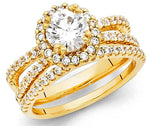 2.30 CT Round Cut Engagement Ring band set in Solid 14k Yellow Gold Bridal Halo
