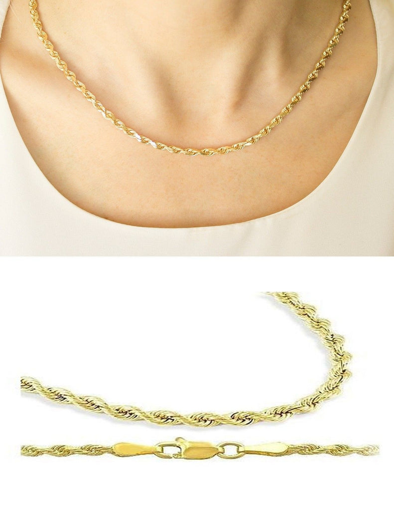 c8f711246d71 Yellow 10K Rope Chain Diamond Cut Gold Necklace Men Women 2.5 MM