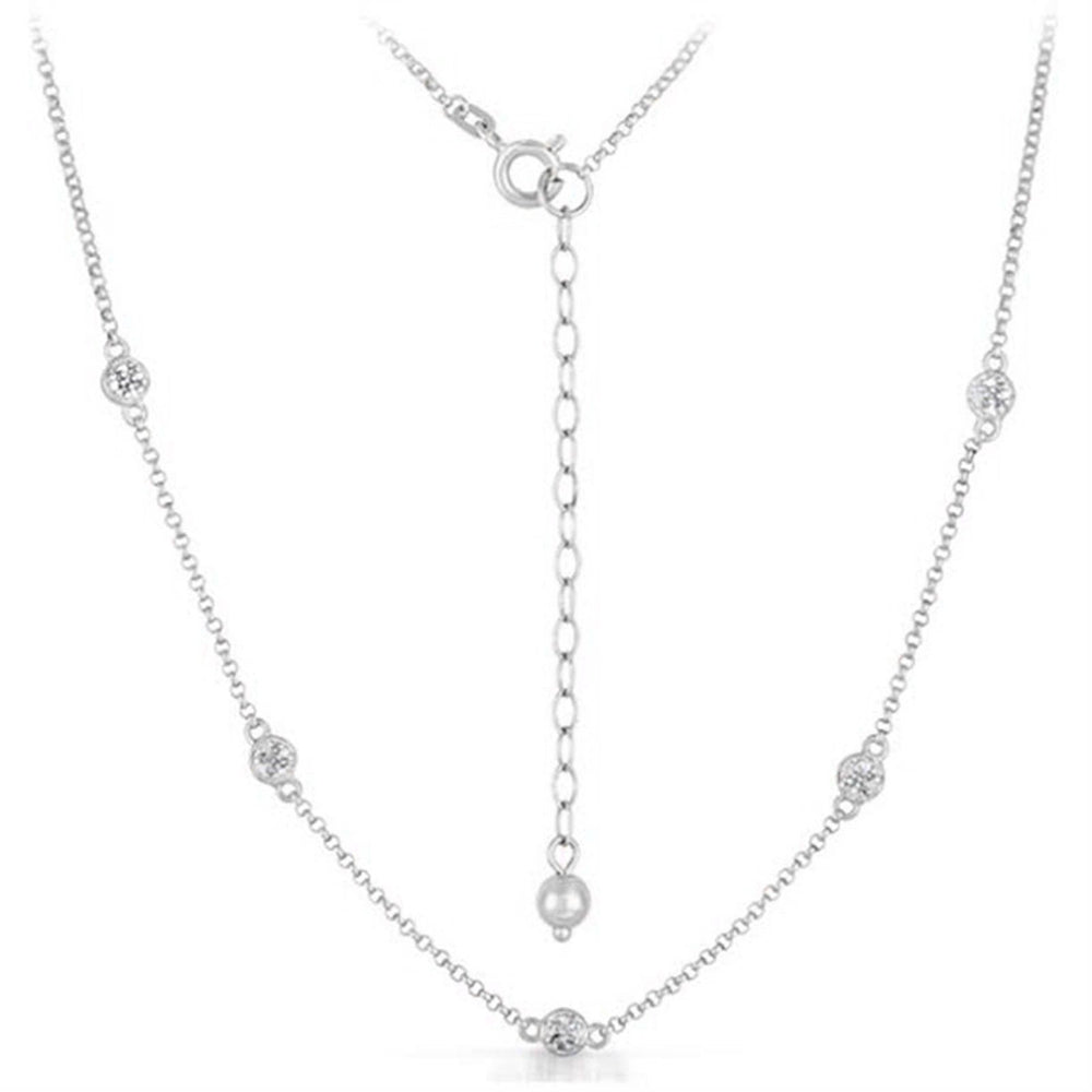 "Women 14K White Gold Finish Sterling SIlver 24-26"" Necklace .07 CT Diamond Chain"