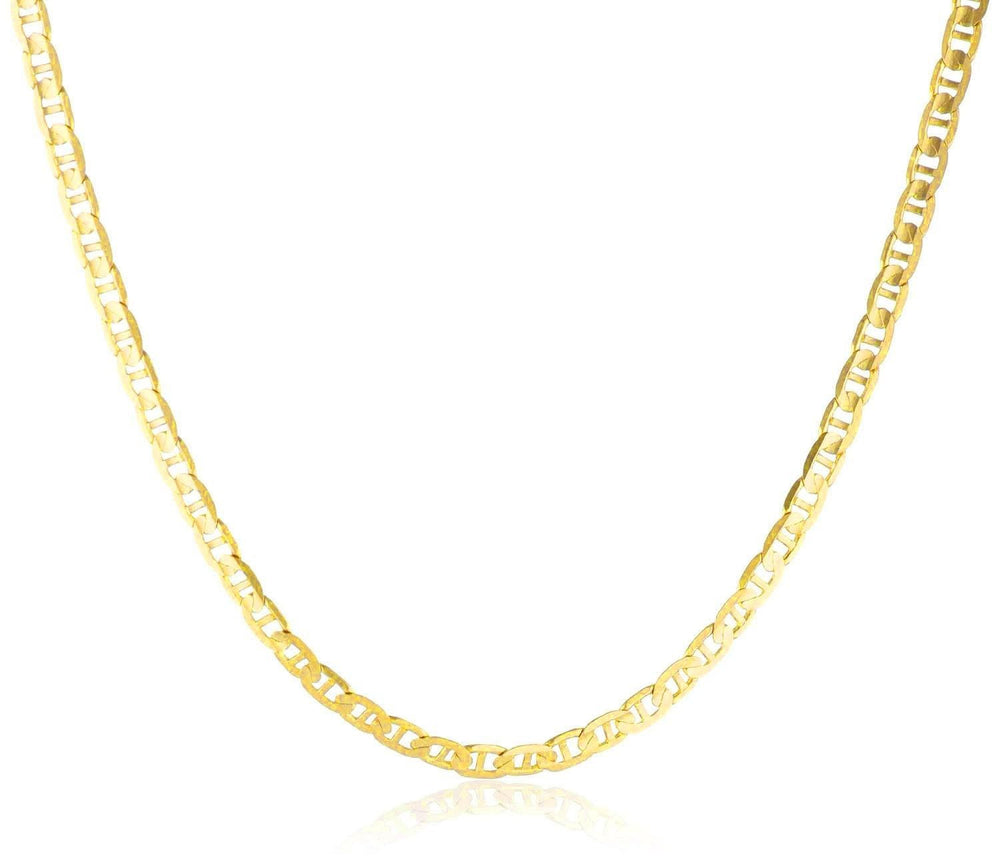 SOLID 10K Yellow Gold Necklace Mariner Chain Men's Women's 3.5 MM, 16 to 24 Inch