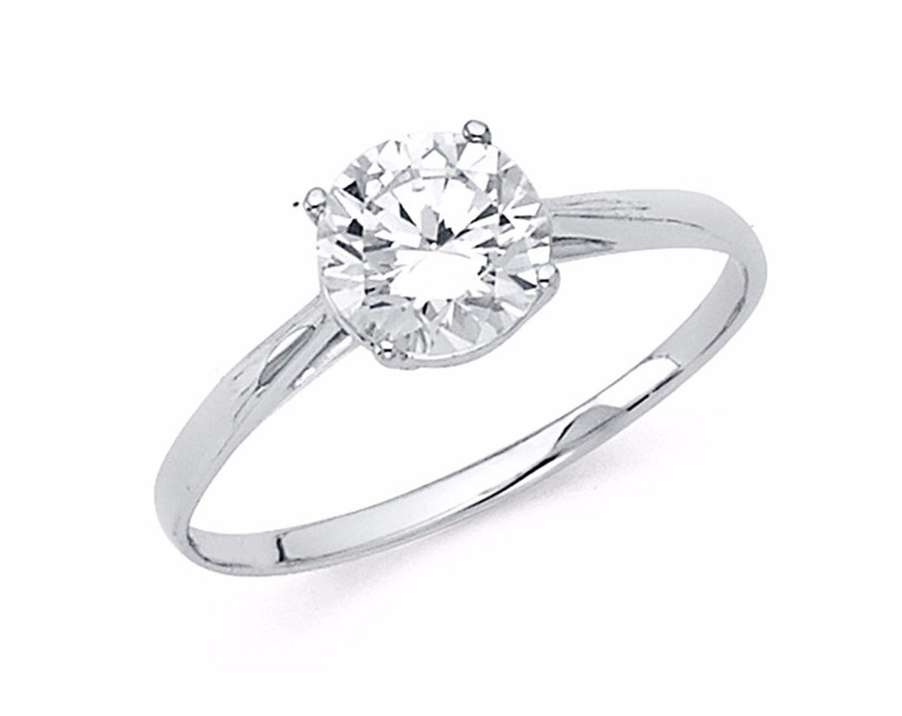 1.00 Ct Round Solitaire Engagement Wedding Ring Solid 14K White Gold Thin Band