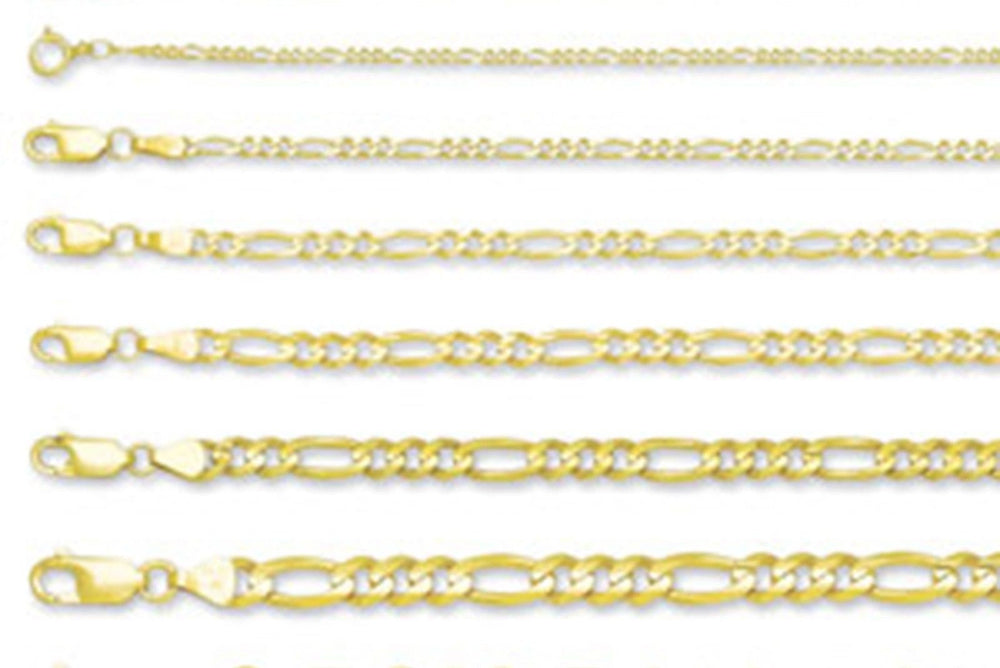 Solid 14K Yellow Gold 1.2mm - 4.6MM Concave Figaro Chain Necklace Light