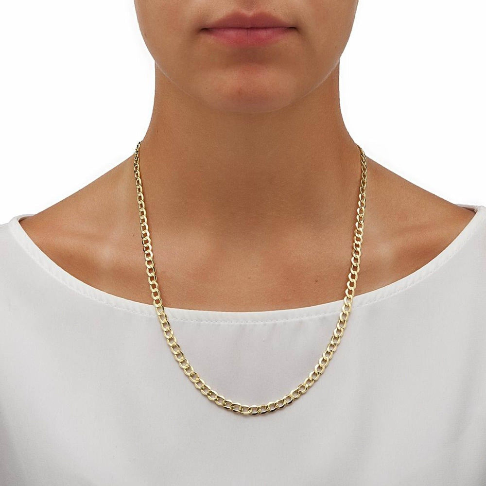 5.1MM Chain 10K Yellow Gold Cuban Link Women Men Necklace 18 20 22 24 26