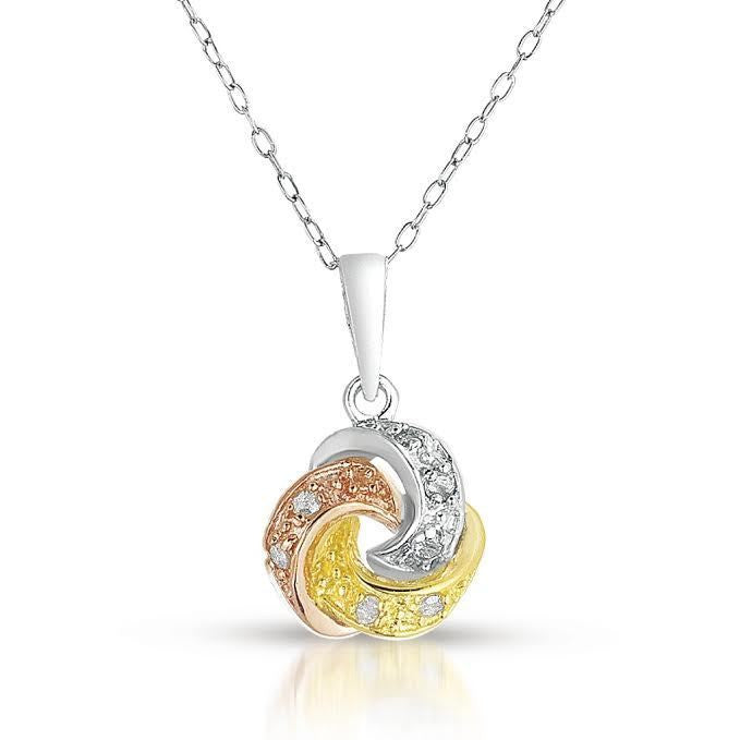 Love Knot Pendant White Yellow Rose 14K Gold Finish Sterling Silver 0.10CT