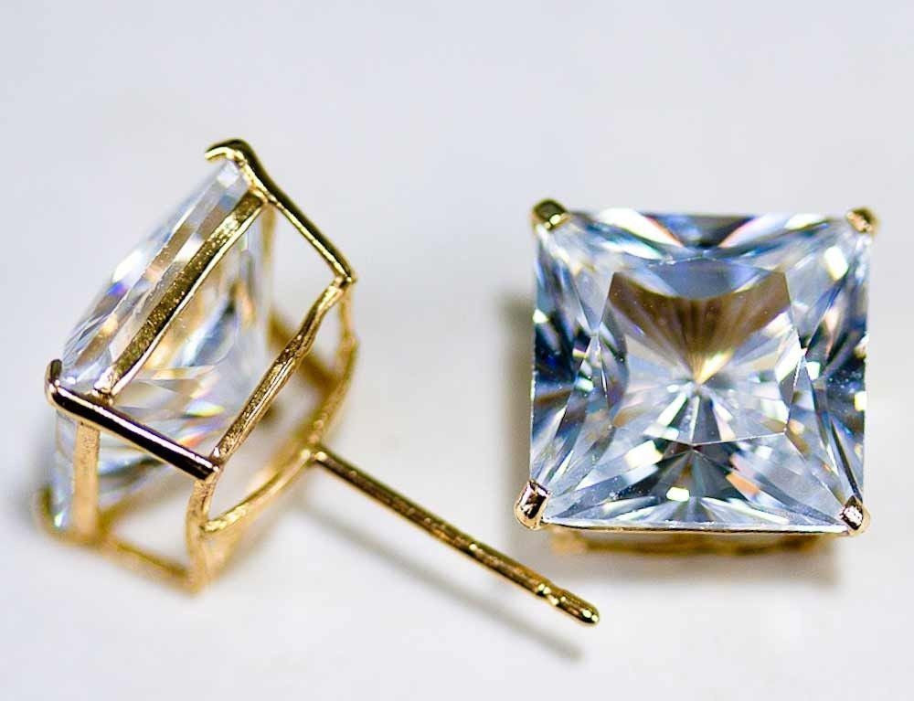 Gold Princess Square CZ 14K Solid Yellow Stud Earrings Basket Push Back 3-8mm